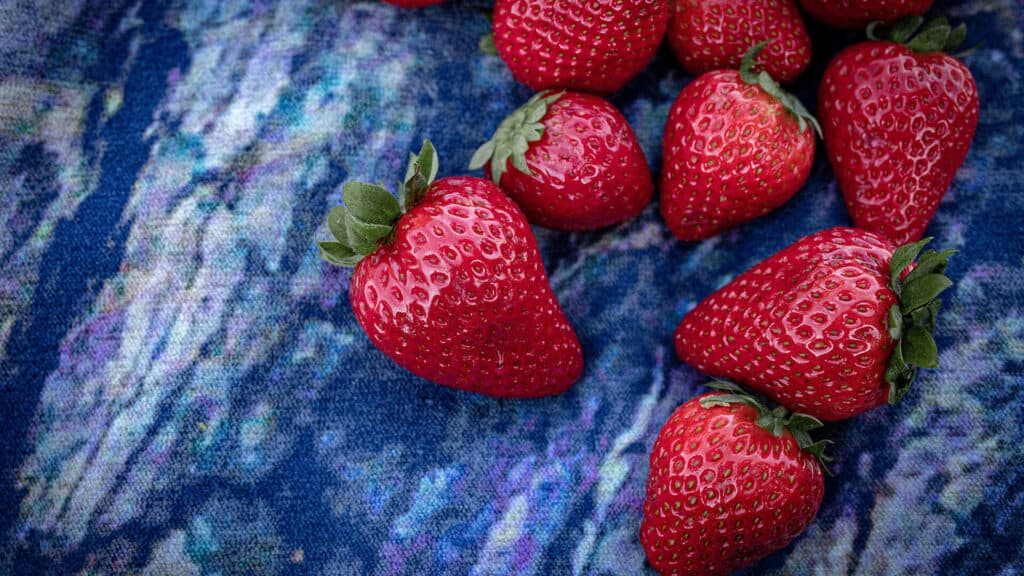 Strawberries on Blue Cloth with Top View
