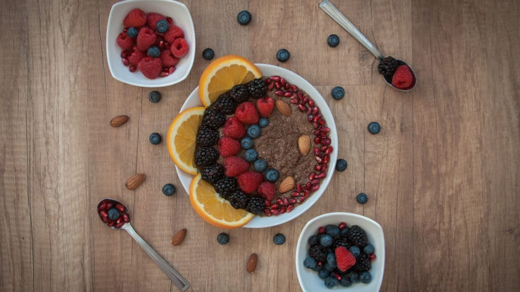 Blueberries, Raspberries, Cherries, Orange and Pomegranates - Fruits Images With Top View