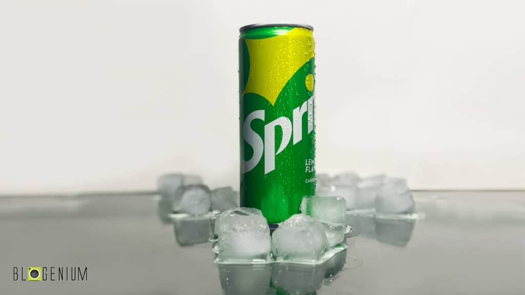 Sprite Can in Ice Cubes