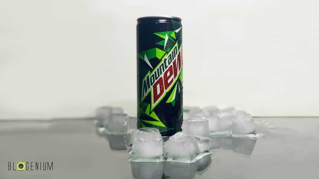 Mountain Dew Can in Ice Cubes