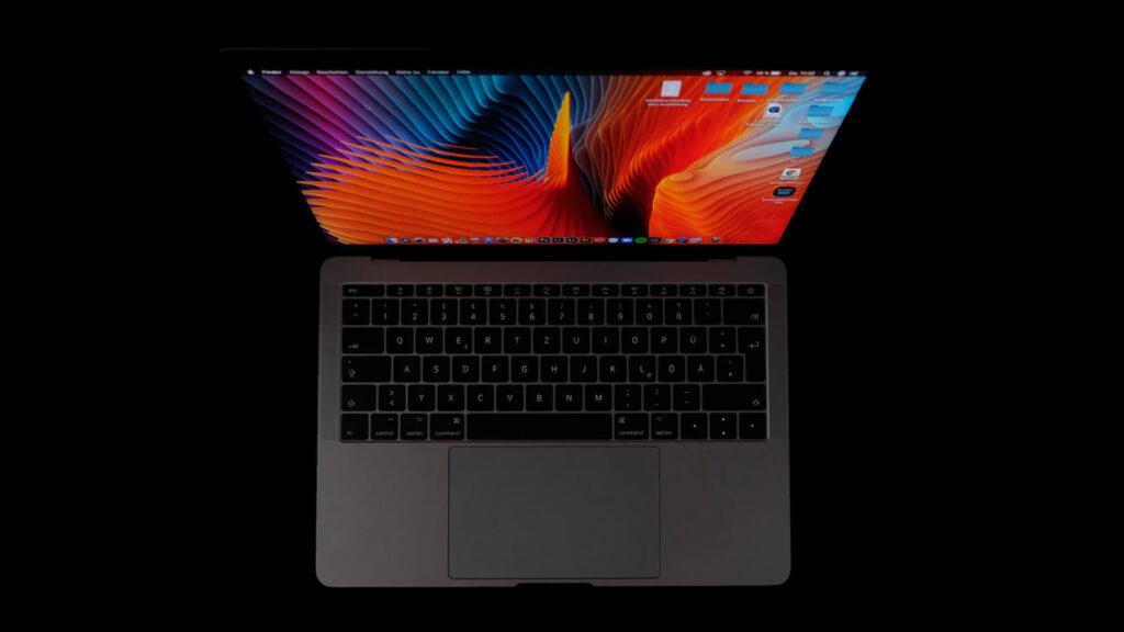 Laptop Top View in Black atmosphere