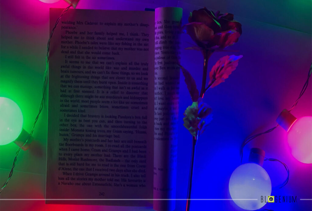 Open Book, Flower and Multi Lights Wallpapers