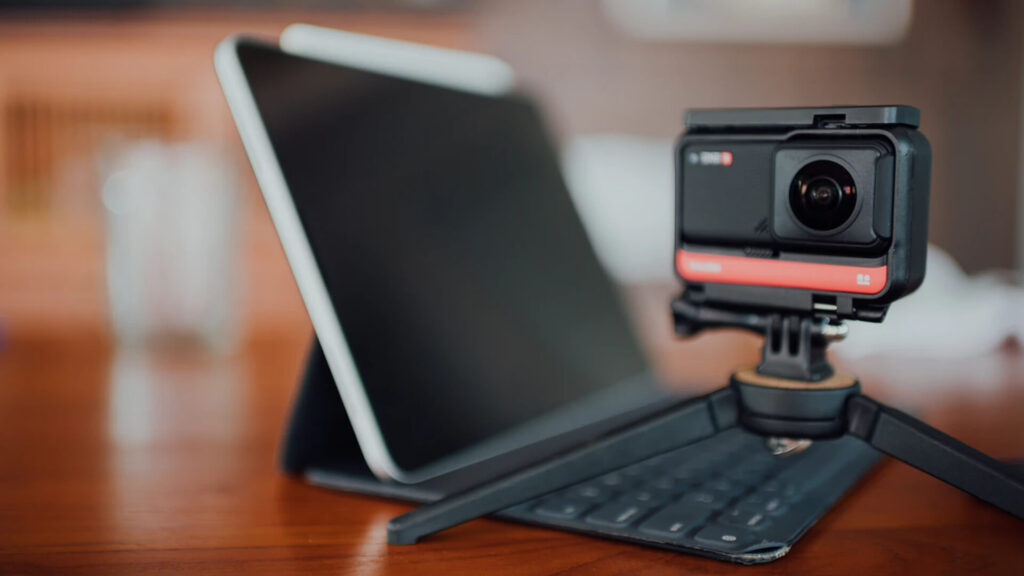 Laptop, Camera on Table