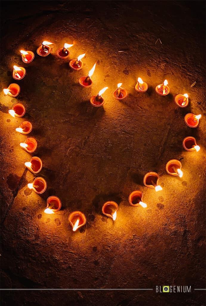 Heart Made by using Diya (Clay Lamp)